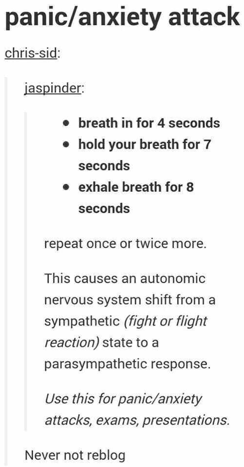 Just calm down...and breath...