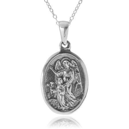 Brinley Co. Women's Sterling Silver St. Michael Medallion Pendant Fashion Necklace