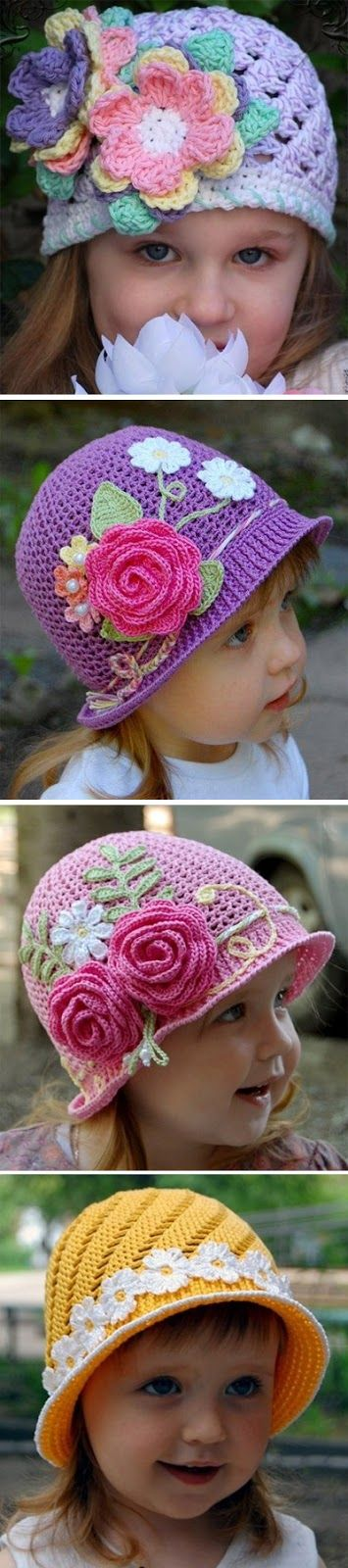 Baby hats crocheted.  Caps, hats and panama DIY tutorial http://www.handmadiya.com/2012/05/blog-post_05.html