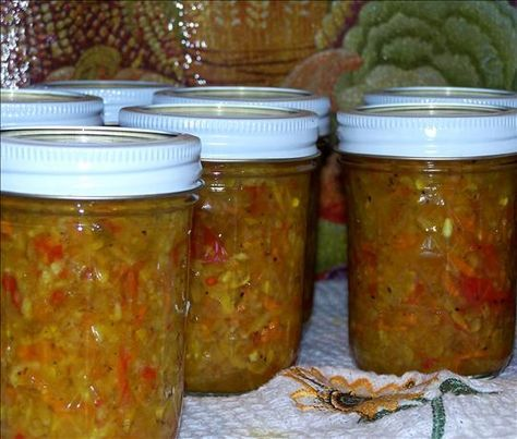 Zucchini Red Pepper Relish| Food.com.  I made something like this the summer of 2011 when my CSA gave me zucchini for canning instead of cucumbers.  I didn't save the recipe and have been searching the web for the recipe.  I think this is it.  I did not grate the vegetables, but chopped them fine.