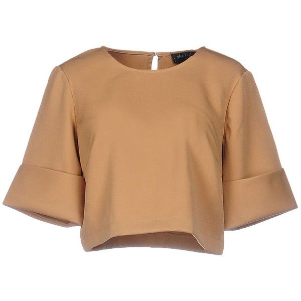 The Fifth Blouse (£29) ❤ liked on Polyvore featuring tops, crop top, blusas, shirts, cropped, camel, short-sleeve shirt, short sleeve crop top, polyester crop tops and cropped tops