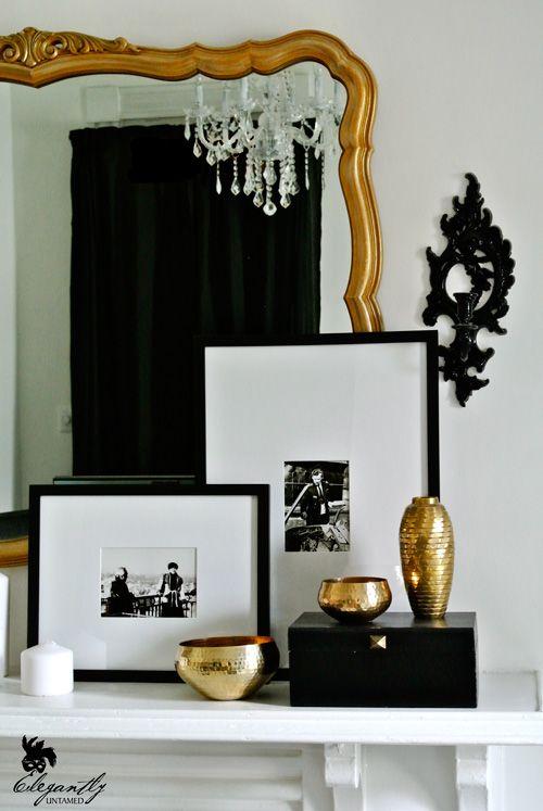 elegant black, white and gold fireplace