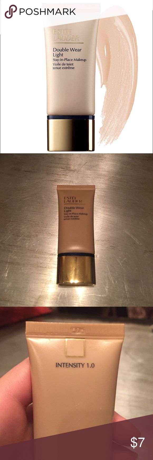 Estée Lauder Double Wear Light Foundation Beautiful foundation. Shade 1.0. There are at least 2-3 more full wears in this. Sanitary, just some residue in the cap shown in photo. Price reflects this and the amount. Great if you want to try before you buy the full size! Estee Lauder Makeup Foundation