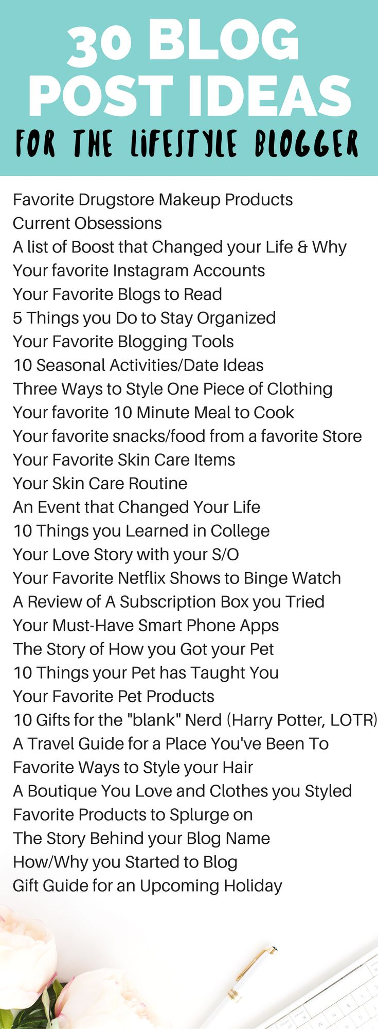 30 Blog Post Ideas for the Lifestyle Blogger, and tips on how to fill up your editorial calendar // Hey There, Chelsie