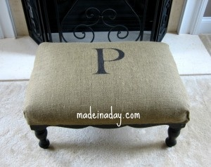 Ottoman Upholstery Up-do. Love the idea of using burlap for home deco accents -- I have a ton leftover from my wedding!