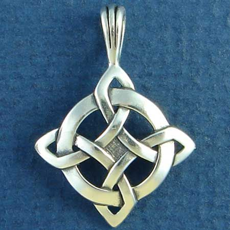 Celtic Knot Pendant Shield of Luck Design Sterling Silver