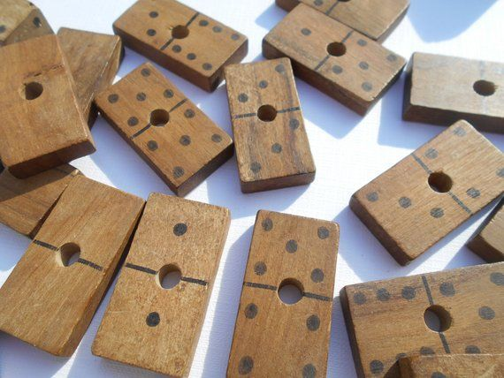 Vintage Wooden Dominoes Game On A Display Wood Rod 50s Educational