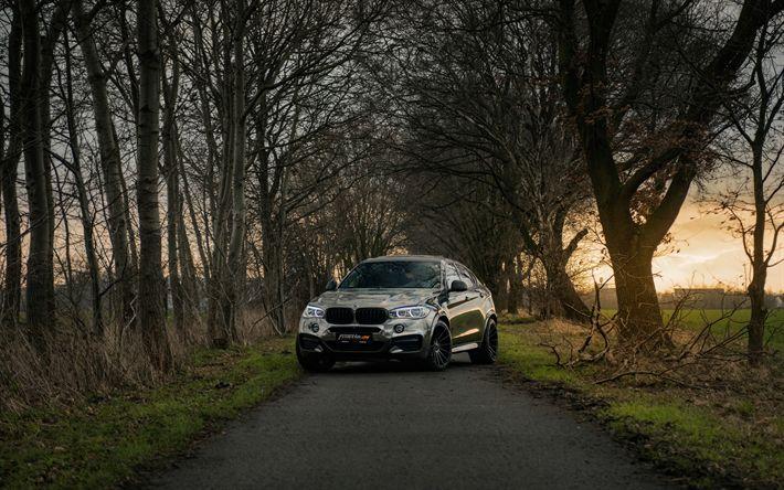 Download wallpapers BMW X6 M50d, 4k, road, 2018 cars, F16, Fostla, tuning, BMW X6M, tunned X6M, BMW X6, SUVs, german cars, BMW