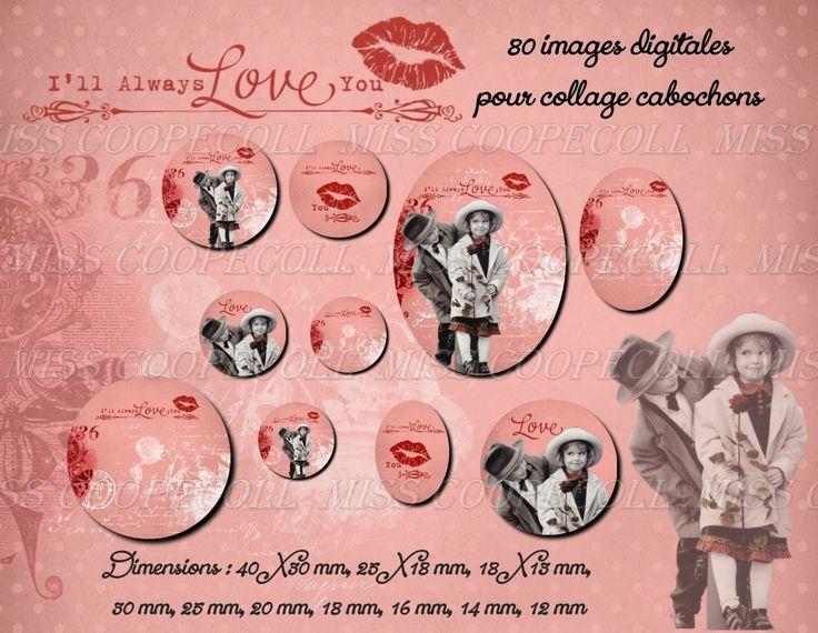 """80 images pour collage digital cabochons bijoux """"always love : Loisirs créatifs, scrapbooking par miss-coopecoll"""