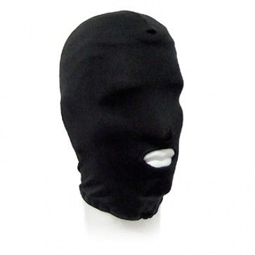 Spandex Zentai open mouth hood available in one size, in both red or black.
