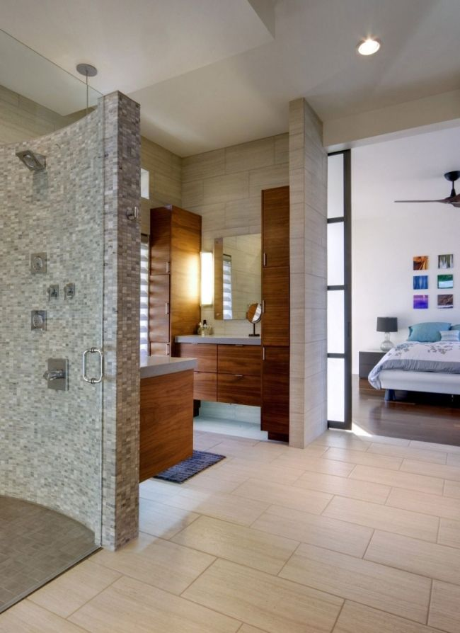 Badezimmer Moderne Ideen Holz Badmöbel Mosaik Duschbereich