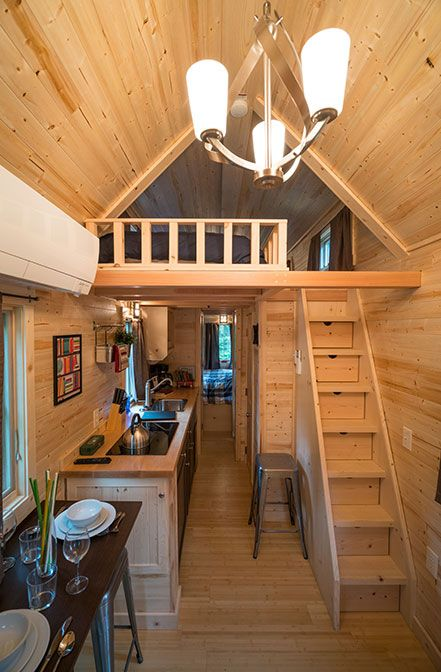 This rustic 261 sq.ft. tiny house is available for nightly rental at Mt. Hood Tiny House Village.