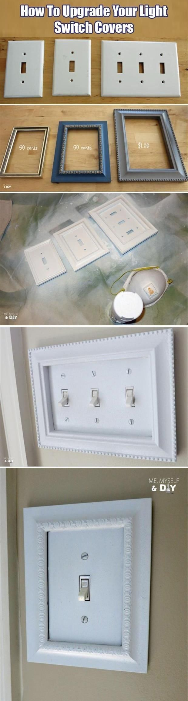 Inexpensive craft store frames fit perfectly around your light switch covers. | 31 Easy DIY Upgrades That Will Make Your Home Look More Expensive. #thehouseofvangogh is going to share this.