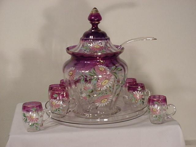 victorian amethyst glassware | Victorian Hand Painted Amethyst Color Punch Bowl ... | Punch Bowls ...