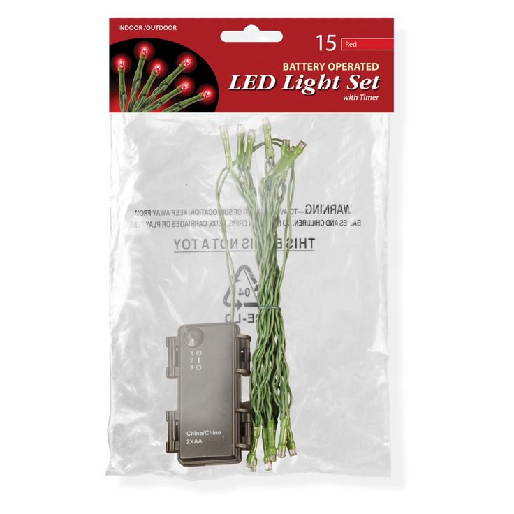 National Tree Company 15 Bulb Battery Operated LED Lights in Poly Bag - LS-883-15B-B
