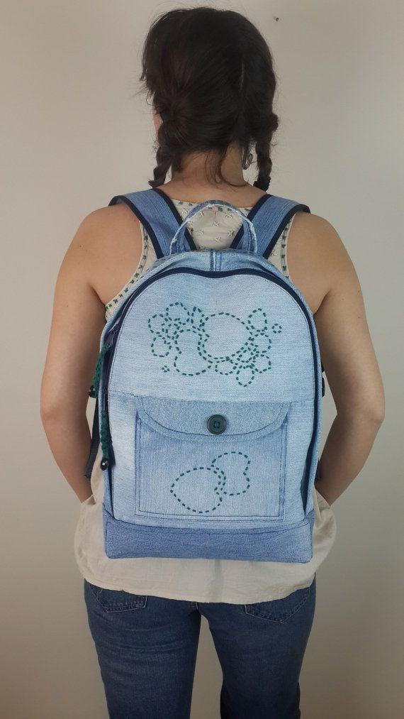 lightDenim Backpack Jeans Backpack Recycled Denim by duduhandmade