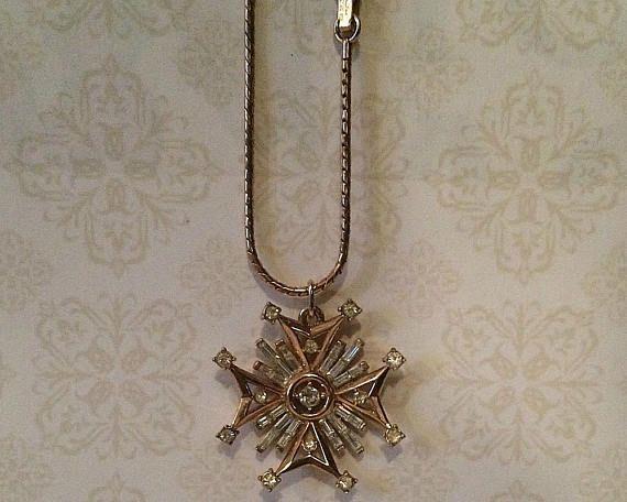 Patent Pending Crown Trifari Sunburst Pendant Necklace.