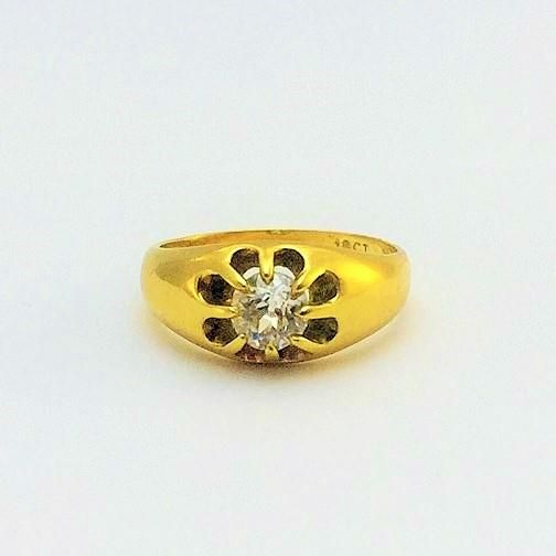 Edwardian Gold Gentlemans Diamond Ring