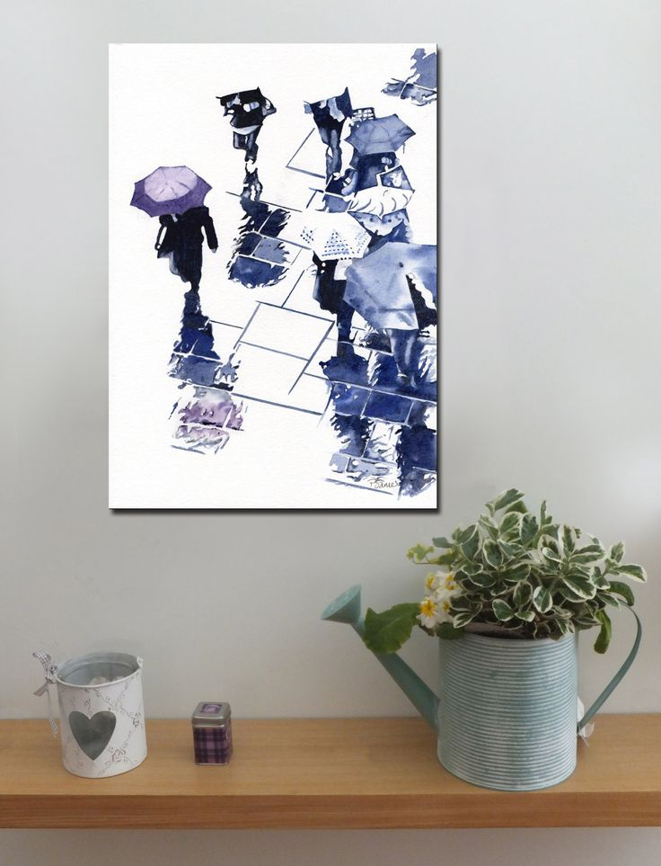 BROLLIES PURPLE http://www.splashyartystory.com/shop/art-prints/purple-brolly-and-reflections-art-print-of-painting/