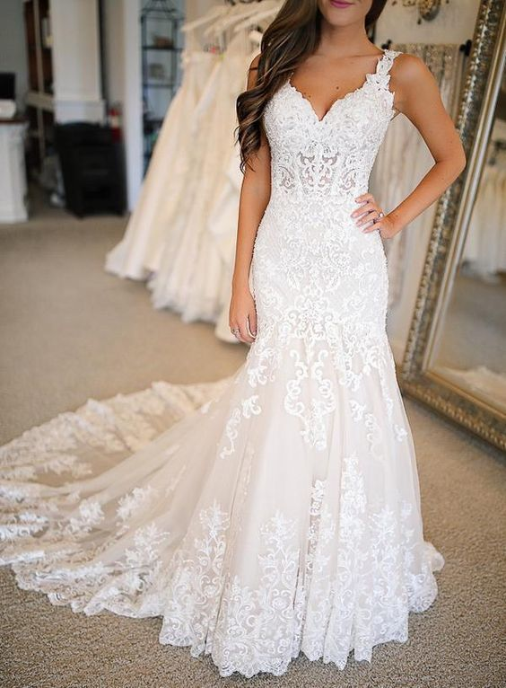 » Gorgeous Mermaid V Neck Open Back Lace Long Wedding Dresses