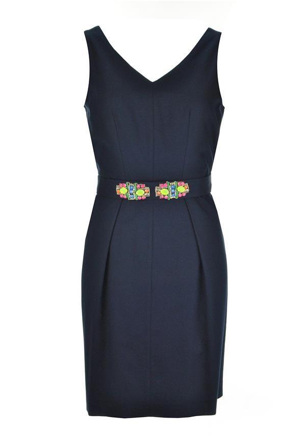 Vilagallo Caterina Embellished Belt A-Line Dress, Navy | McElhinneys Department Store