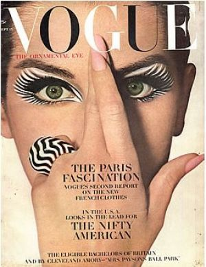 Vintage Vogue September 1964 -black and white theme with sections of pastel colour- alternating the colour of the type
