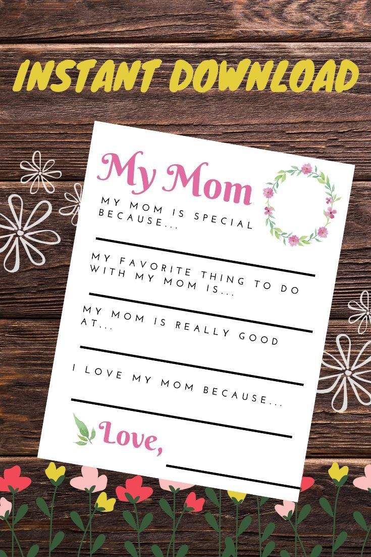Mother S Day Letter Printable Diy Gifts For Mom Diy Mother S Day Crafts Mothers Day Crafts
