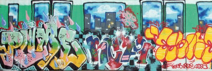 UV+TPK+(Crew+Français)+2006+Peinture+aérosol+sur+toile,+signée+par+les+artistes+dans+l'oeuvre+Spray+paint+on+canvas,+signed+by+each+artist+213+x+1100+cm+-+102.3+x+433+in+Exposition:+Galerie+Chappe,+2006…+-+Digard+Auction+-+01/06/2015