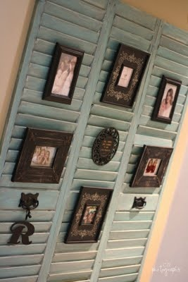 Use old shutters to hang picture frames on the wall. Might work for living room. Shutters would have to be a different cook.