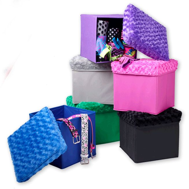 fuzzy storage ottoman room five below back to school