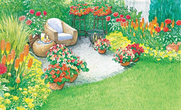Am meisten hat man von seinem Garten, wenn man den Sitzplatz inmitten der Blütenpracht, die der Garten liefert, plaziert