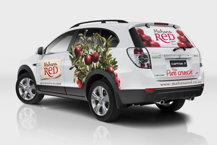 Mahana Red branded car cruising the streets of Auckland