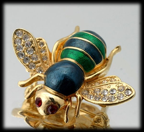 Green Enamel Rhinestone Bumble Bee Pin by American Fashion Jewels