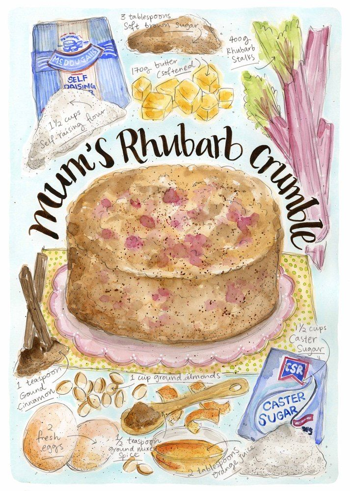 Dawn Tan Image of Mum's Rhubarb Crumble. Illustrated recipe