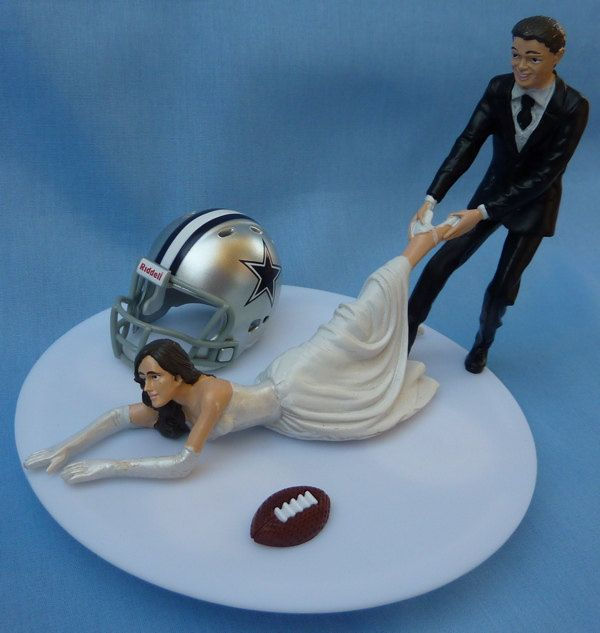 Here we go! LOL That's me being dragged away from my Boys! -- Wedding Cake Topper Dallas Cowboys G Football Themed w/ Garter, Display Box. $59.99, via Etsy.