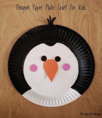 Mr Popper's Penguin - Penguin Craft for Kids. Made using paper plate.