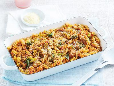 Fusilli Pasta Bake with Italian Sausage and Broccoli