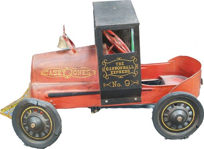 """Early Metal Casey Jones """"""""The Cannonball Express No. 9"""""""" Kiddie Pedal Car, in original condition"""
