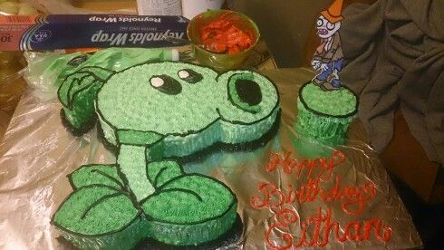 Peashooter cake... Plants vs Zombies.
