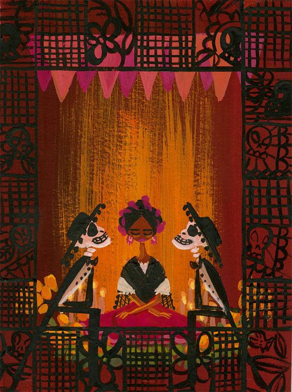 Dia de los Muertos (Two Husbands) - Print by Lorelay Bove Halloween Illustration, Illustration Art, Mexico Day Of The Dead, Day Of The Dead Art, Cultures Du Monde, Mexico Culture, Mexico Art, Wow Art, Mexican Folk Art