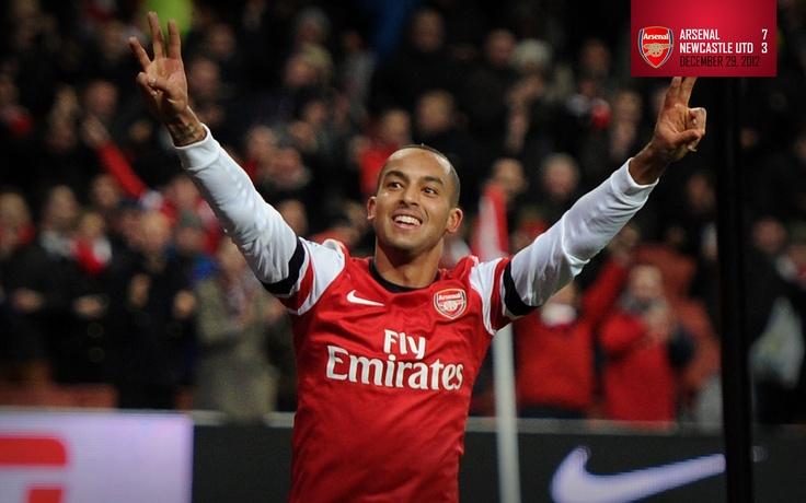 Arsenal 7-3 Newcastle United. Theo Walcott celebrates his hat-trick goal