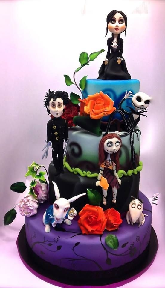 Tim Burton characters cake.  The woman at the top is probably the cake recipient.  Artist unknown.