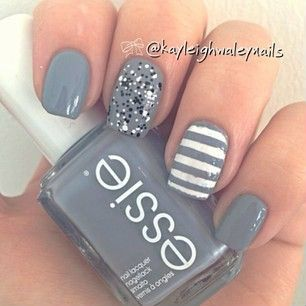 gray white glitter nails