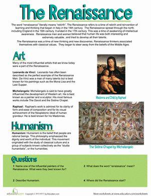 Middle School Social Studies Worksheets: The Renaissance for u J