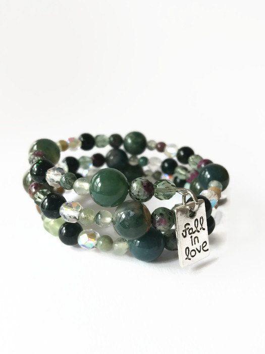 Green Beaded Memory Wire Wrap Bracelet Green by JulemiJewelry
