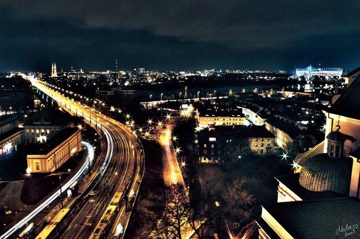 Warsaw city lights, Poland