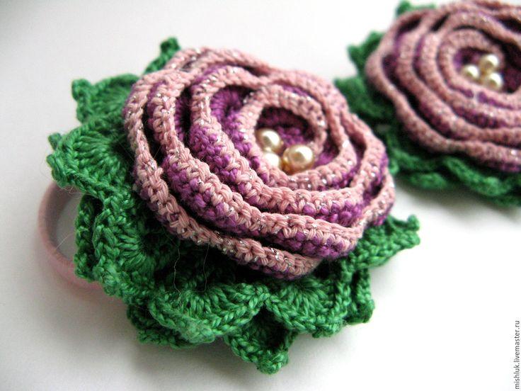 """Купить Резинка для волос """"Сиреневая роза"""" - сиреневый, заколка для волос, заколка с цветами, заколка-цветок"""
