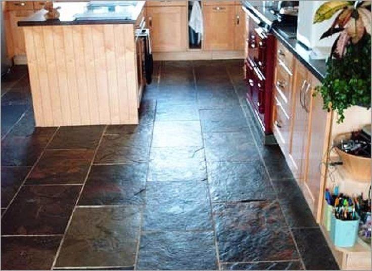 Nice Black Slate Kitchen Countertop With Stone Flooring Tiles Interior  Design   GiesenDesign