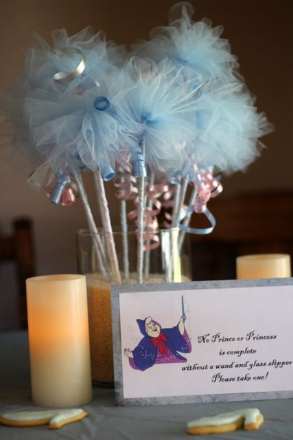 General princess party ideas....wand favors slipper cookies