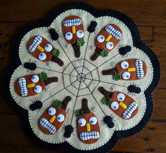 Jacks and Spiders  Penny Rug  Completed